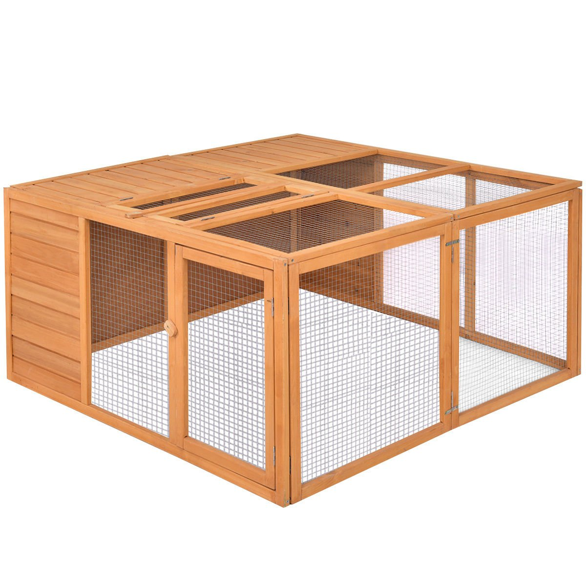 Tangkula Chicken Coop, Wooden Garden Backyard Bunny Chicken Rabbit Duck Small Animals Cage with 2 Doors,Hen House (47'') by Tangkula (Image #4)