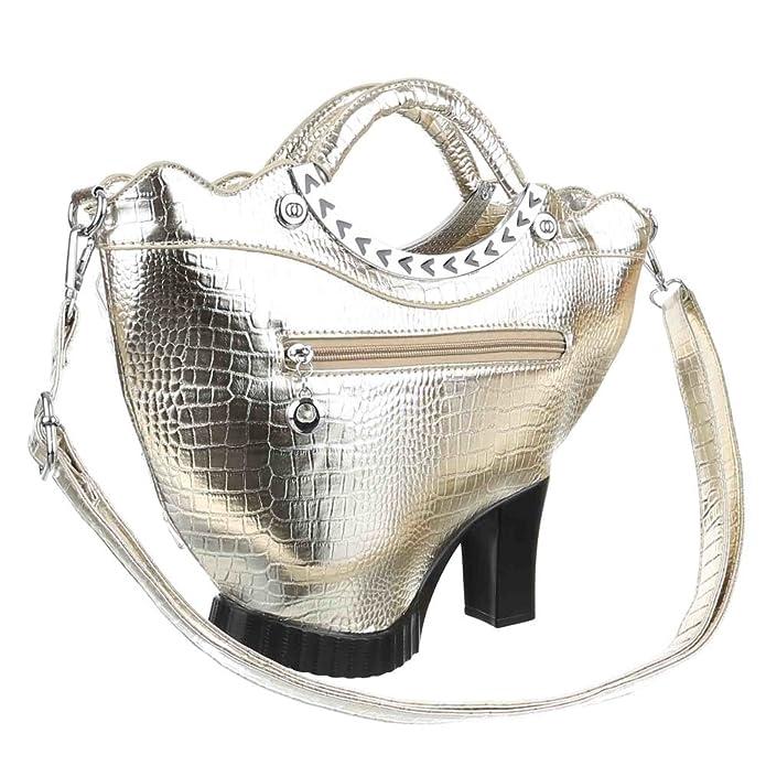 Damen Tasche, Mittelgroße Schultertasche Mit Perlen Deko, Kunstleder, Gold, TA-X-201501 Ital-Design