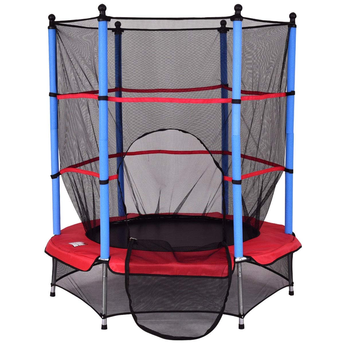 Fun Bounce Fitness 55'' Kids Jumping Trampoline with Safety Pad Enclosure Combo 9rit_Shop by Fun Bounce Fitness 55'' Kids Jumping Trampoline with Safety Pad Enclosure Combo