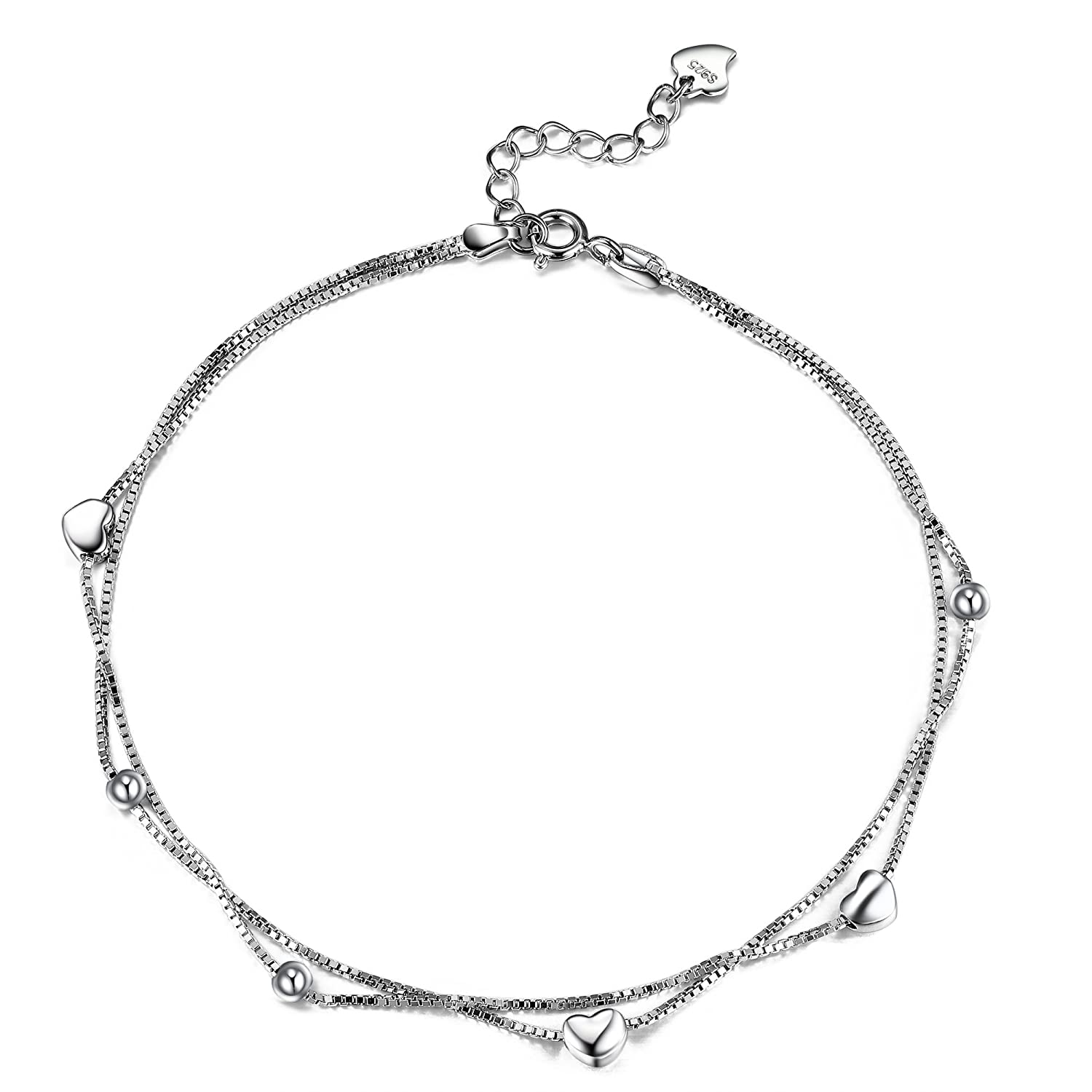 Lydreewam Women Anklet Bracelet 925 Sterling Silver 2 Layers Love Heart Chain for Beach Sandal Barefoot Adjustable 26cm
