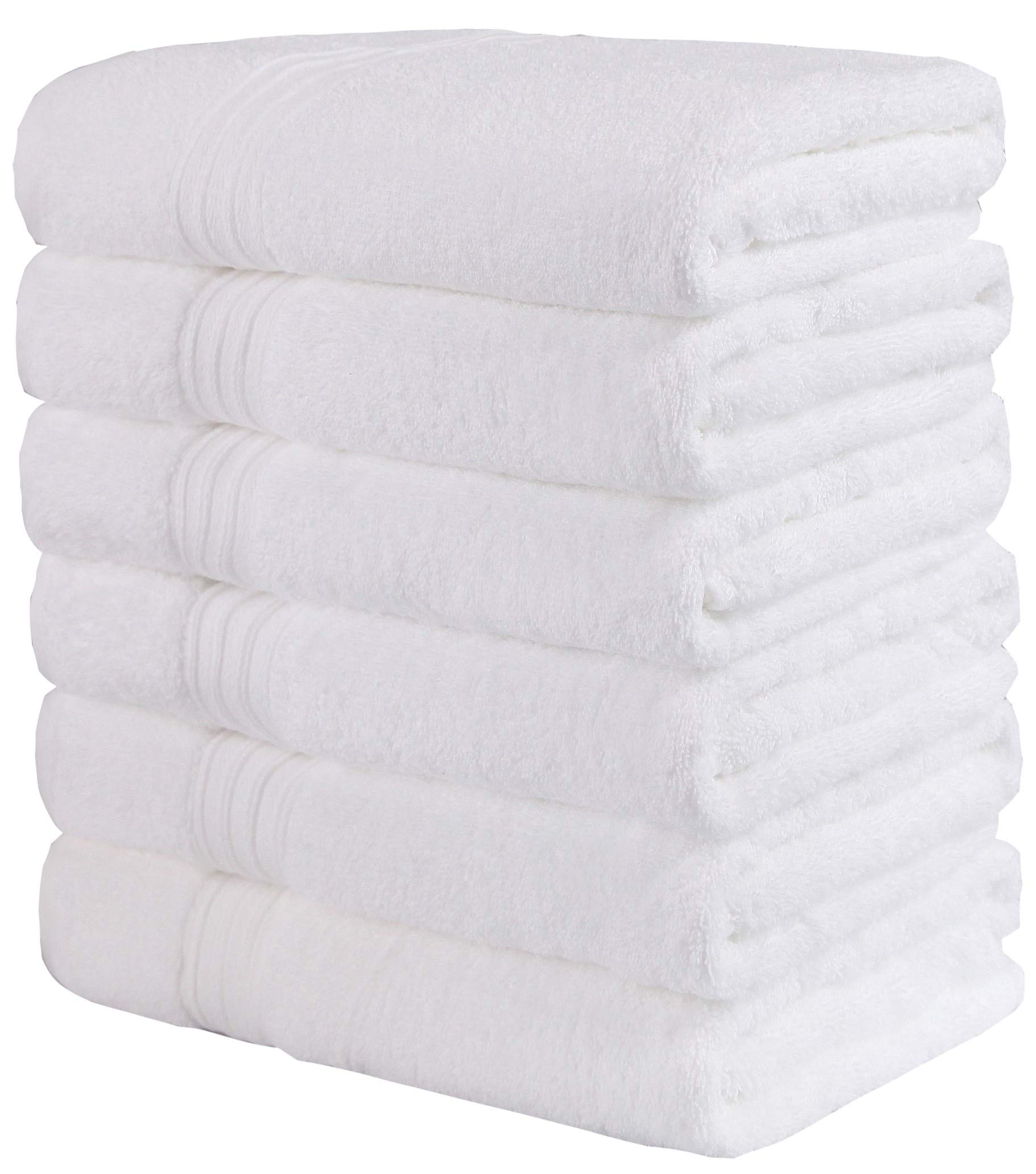 GraceAier Luxury Cotton White Bath Towels for Hotel,Spa,Pool,Gym (6-Pack,24 x 48 Inches) Lightweight Soft Absorbent Ring Spun Cotton Bathroom Towel