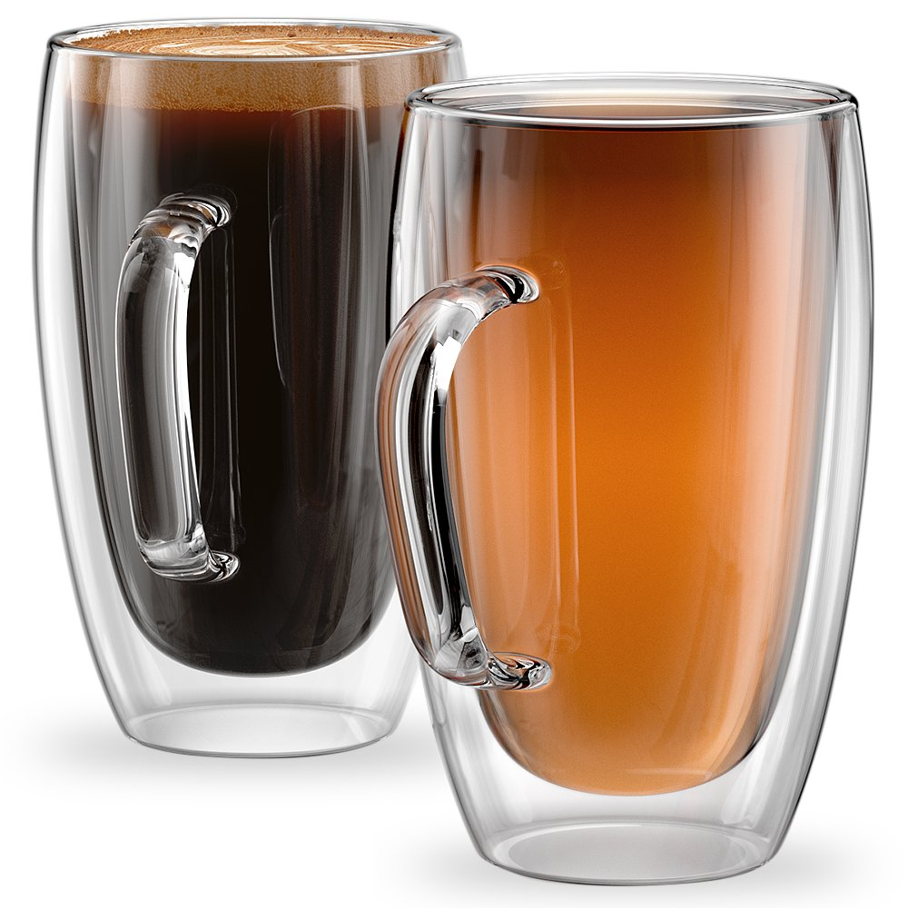 Stone & Mill Set of 2 Large Double Walled Glass Coffee Cups, 15 Ounce Sicilia Collection, Tall Insulated Mugs for Espresso, Latte, Cappuccino, Tea, Box Set AM-13