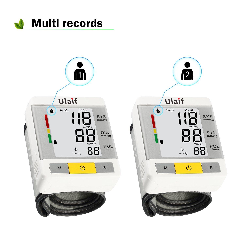 Ulaif Tensiómetro de Muñeca Monitor de Presión Arterial Digital con Medición de Ritmo Cardíaco Pantalla LCD Función de Memoria de luz Uso Doméstico y de ...