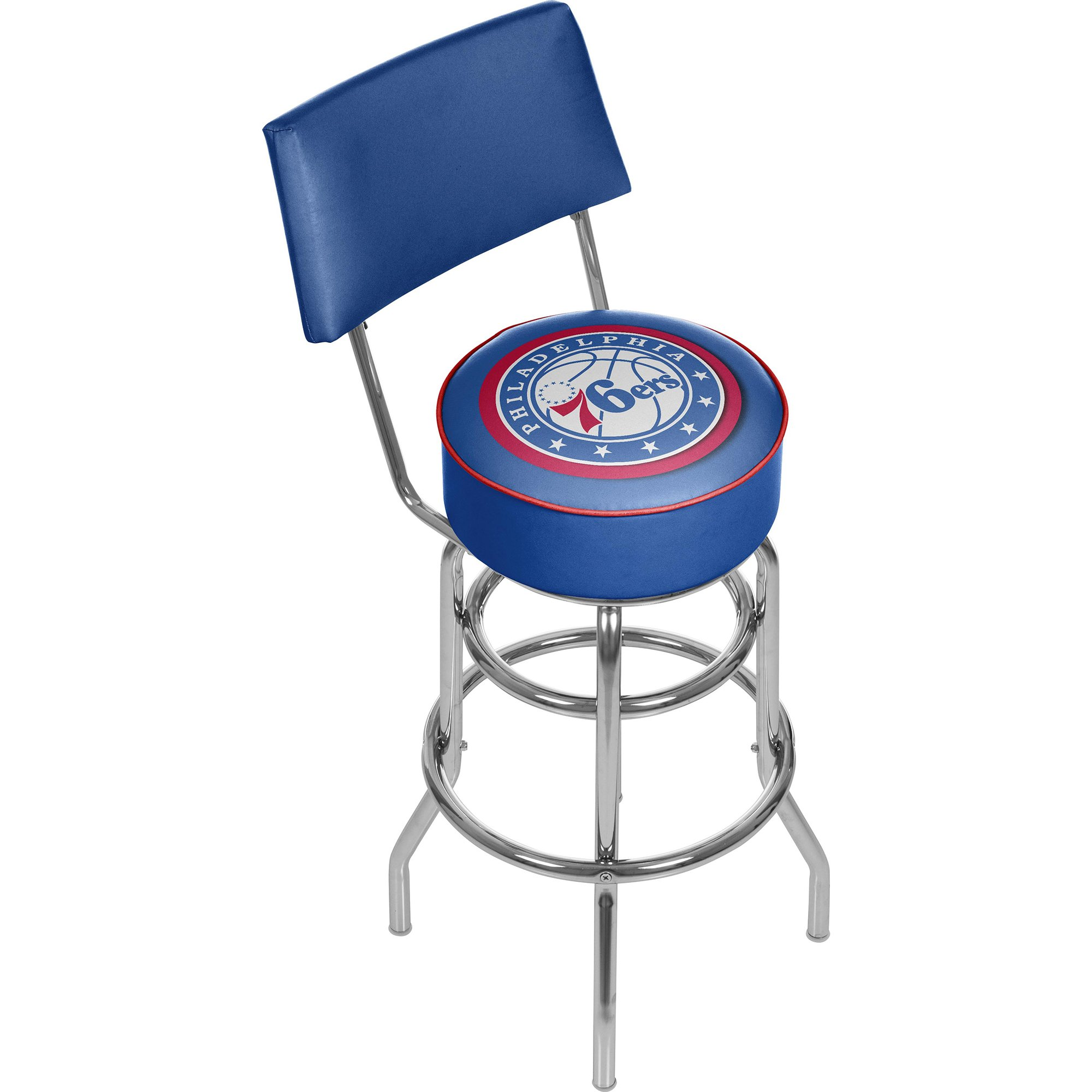 Trademark Gameroom NBA Philadelphia 76ers Padded Swivel Bar Stool with Back by Trademark Gameroom