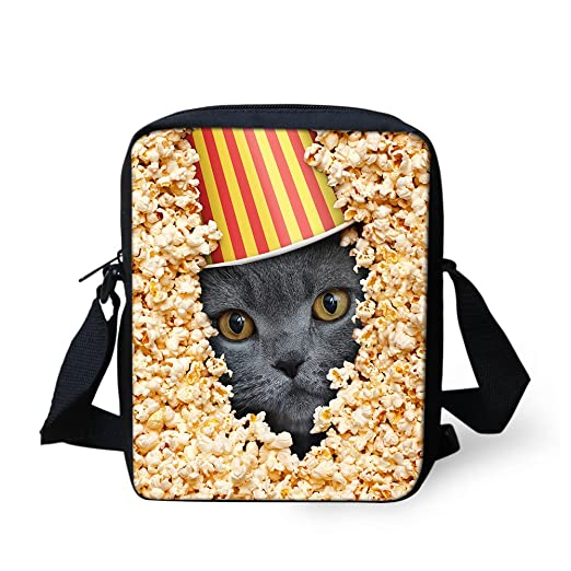 f943bdd3ac Animals Messenger Bag for Girls Cute Cat Popcorn Handbag Women Travel Cross  Body Bag