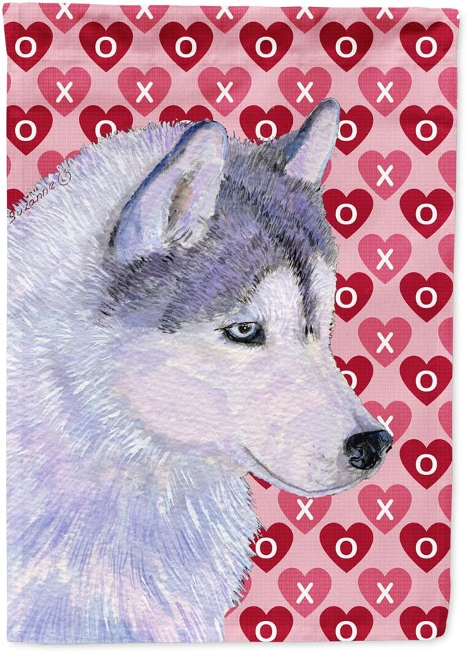 Caroline's Treasures SS4464GF Siberian Husky Hearts Love Valentine's Day Flag Garden Size, Small, Multicolor