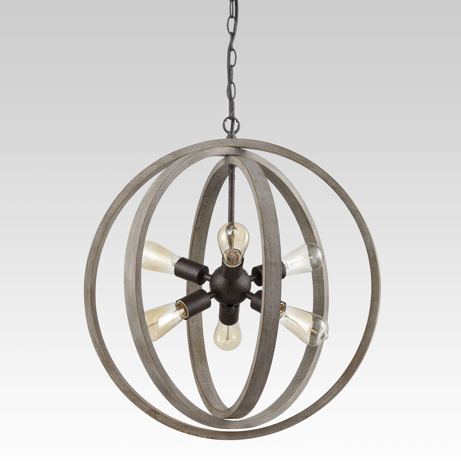 Modern Rustic Six Light Wood Orb Pendant with Antique Grey Wash Finish and Bronze Base HOMSTYLE TM5145-6DU-TX