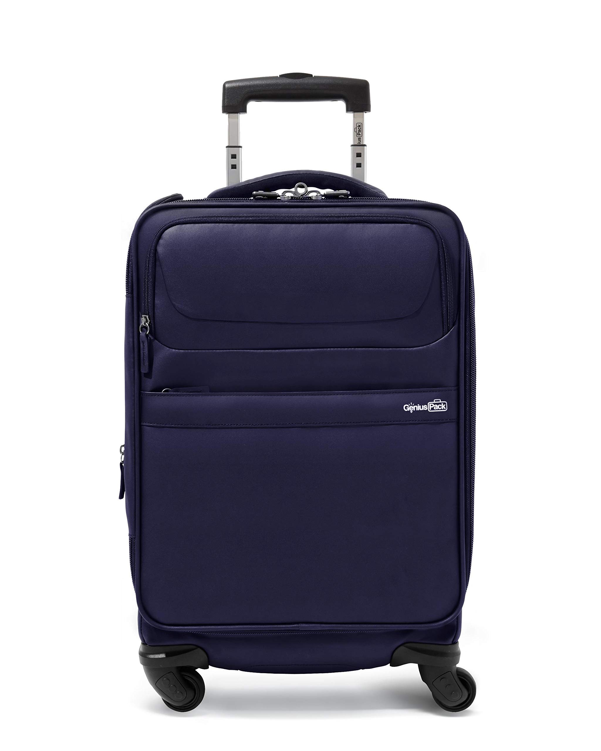 Genius Pack G4 22'' Carry On Spinner Luggage - Smart, Organized, Lightweight Suitcase (G4 - Navy)