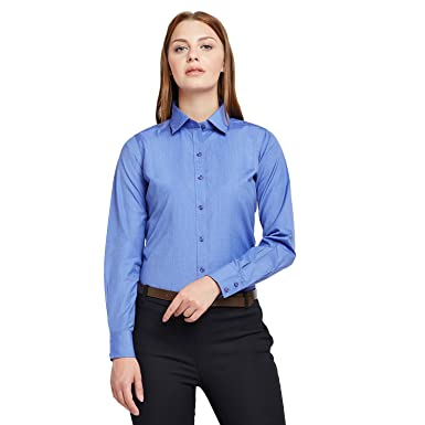 d9686d63cf87 Lamode Ladies Solid Royal Blue Formal Shirt 399: Amazon.in: Clothing ...