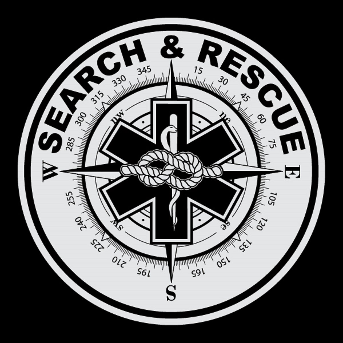 Search & Rescue Small Round Reflective Decal Sticker - Package of 6