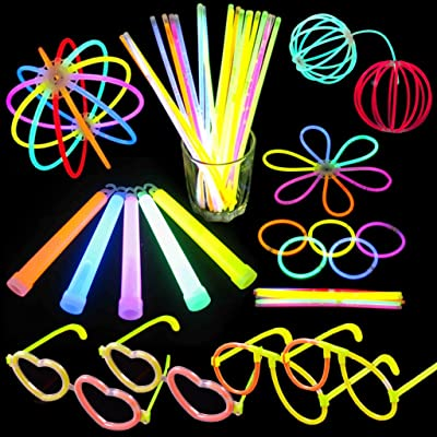 "110 Glow Sticks Bulk for Glow Party(100 Count 8"" Stick Bracelets + 10 Count 6"" Light Sticks) with Connectors for Glow Necklace, Flower Balls,Glow Glasses and Luminous Headband"