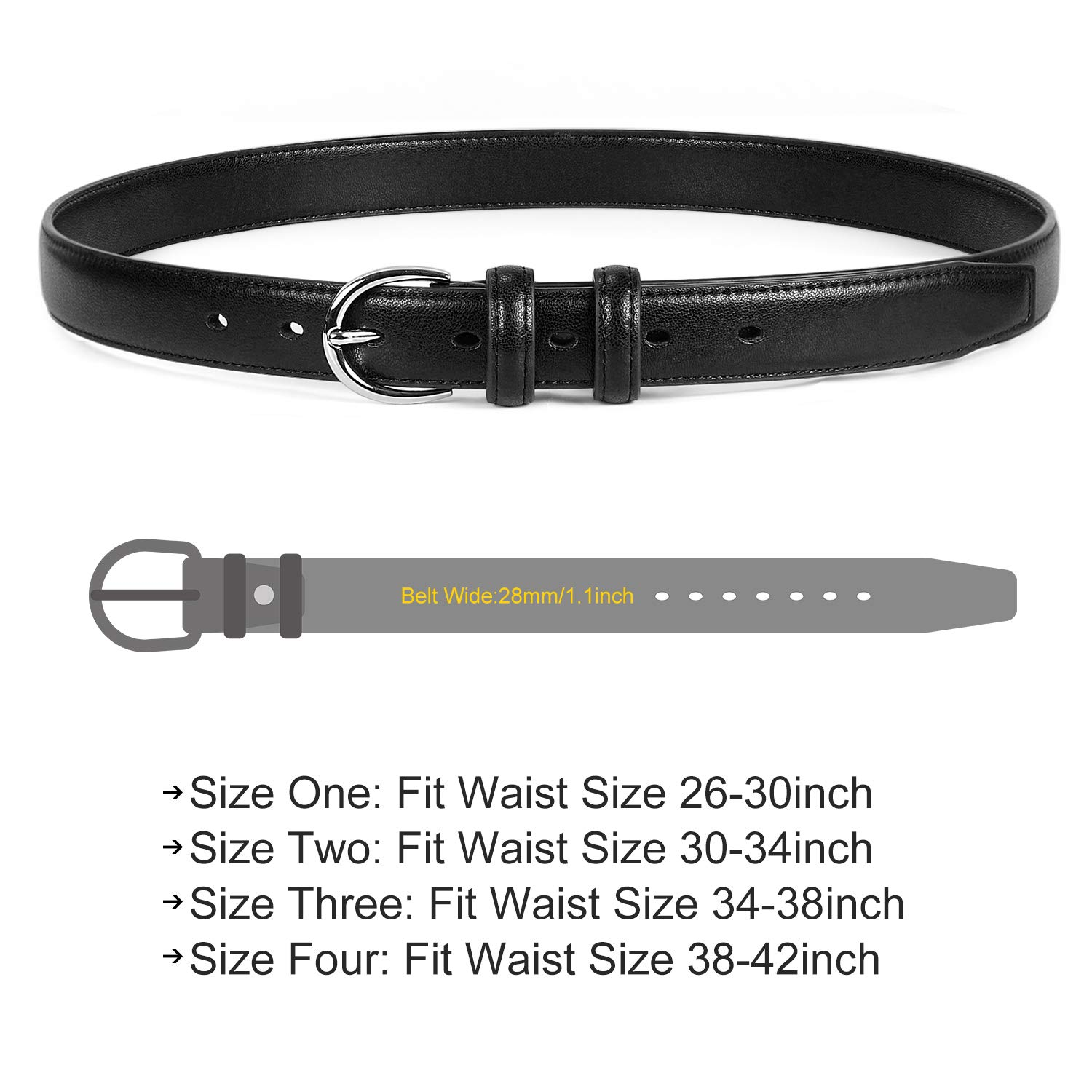 Women Genuine Leather Belt Thin Jeans Belts With Silver Prong Buckle Muti-Colors,Black,Fit Waist 26-30inch