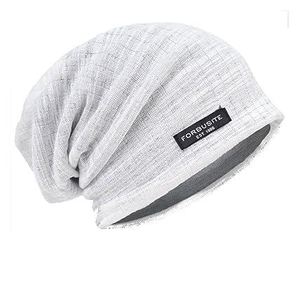 863891ccdcc HISSHE Men Jersey Slouch Beanie Thin Summer Cap Skullcap B018h-3D (White)