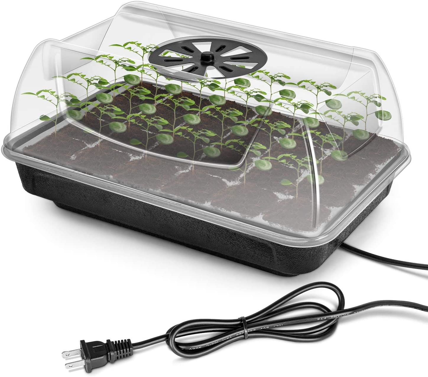 iPower Heating Seed Starter Germination Kit Seedling Propagation Tray with Heater and 5in Vented Humidity Dome, 1-Pack, Black&Transparent