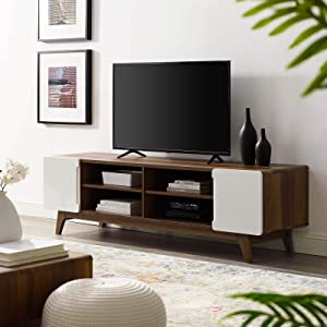 """Modway Tread 70"""" Mid-Century Modern Low Profile Media Console Entertainment TV Stand in Walnut White"""