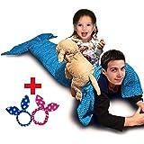 sturme Handmade Maglia Sirena coda coperta, divano letto soggiorno coperta blu sirena coperta per bambini e adulti