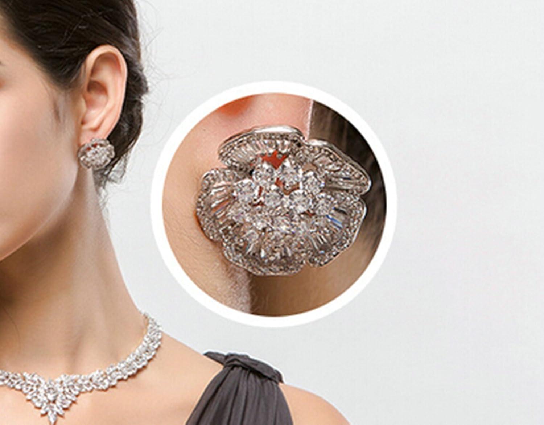 Gnzoe White Gold Plated Women Piercing Stud Earrings White Zirconia Flower Buding Channel 21.5x20.5MM