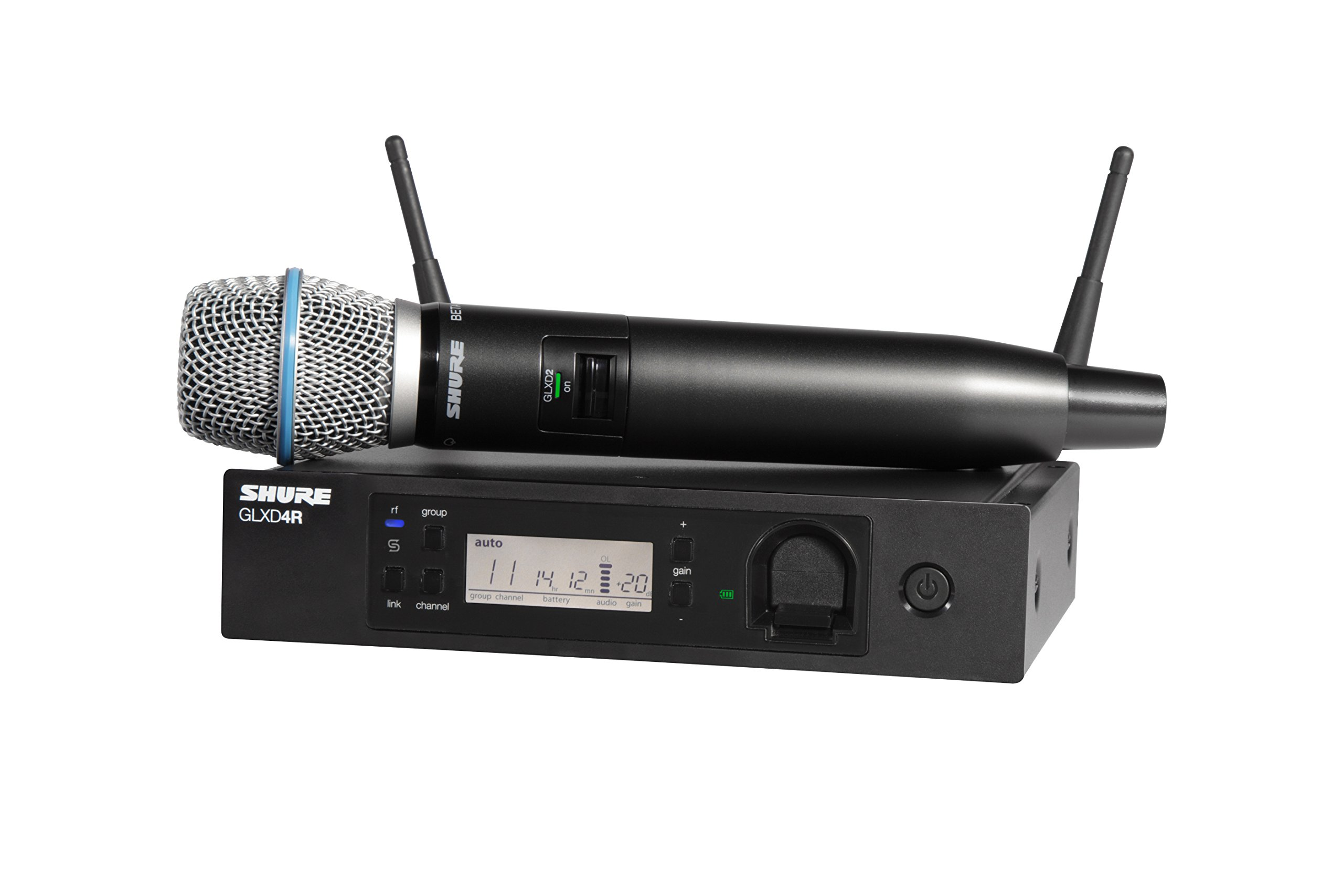 Shure GLXD24R/B87A-Z2 Rechargeable Wireless System with BETA87A Vocal Microphone, Half Rack by Shure