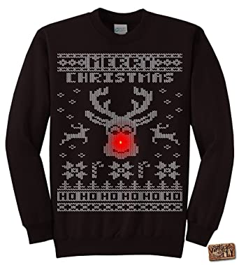 Vintage Fly Adult Light Up Ugly Christmas Sweater Rudolph The Red ...