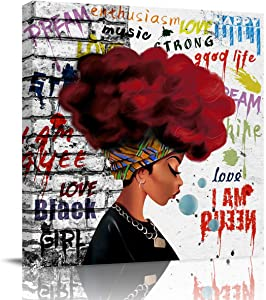 Victories Canvas Painting Wall Decor-Traditional African Black Woman Red Hair Street Graffiti,Wall Art Print Paintings for Home/Living Room/Bedroom Decor Single Panel 12x12Inches