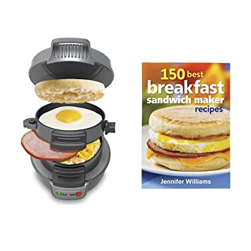 Hamilton Beach Breakfast Sandwich Maker Countertop SilverRecipe Cookbook Silver