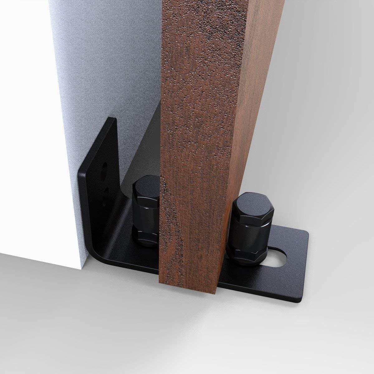 Barn Door Floor Guide Stay Roller - New Designed Stainless Sliding Door Hardware Adjustable Wall Mount Roller Guides for Pocket Door, Cabinets, Sliding Wood Doors (Black) by HOMEWINS (Image #6)