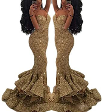 a55b43ccd31a Veilace Women's Bling Gold Sequins Mermaid Prom Dress Spaghetti Ruffles Evening  Gowns Pageant Dress .