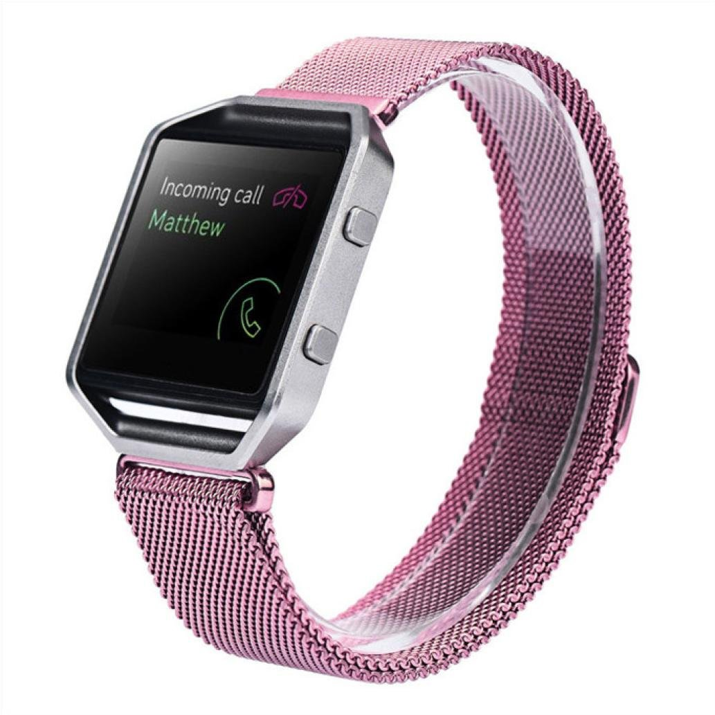 LANDFOX Milanese Magnetic Loop Stainless Steel Bands Strap Bracelet For Fitbit Blaze Light Purple