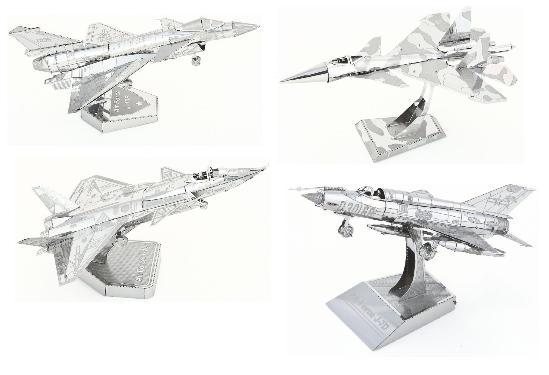 3D Metal Puzzle Models of The Fighter Jet Collection - DIY Toy Metal Sheets Assembling Puzzle, 3D Puzzle - 4 Pack