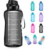 4AMinLA Motivational Water Bottle Gallon Jug with Straw and Time Marker Large Capacity Leakproof BPA Free Fitness Sports Wate