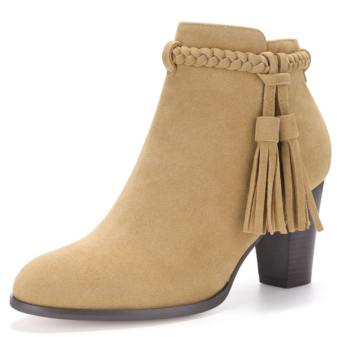 Allegra K Women's Braided Tassel Block Heel Bootie a17071700ux1373