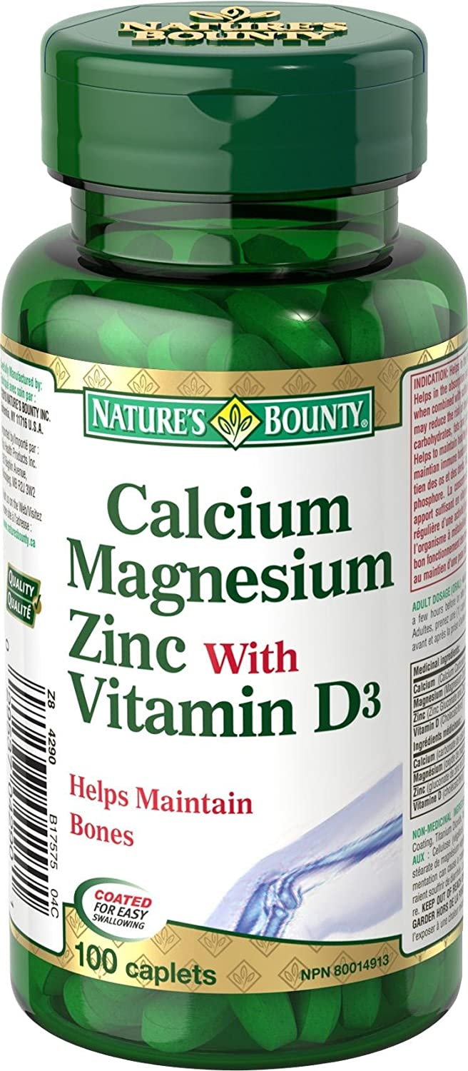 Amazon.com: Natures Bounty Calcium Magnesium Zinc with Vitamin D3, 100 Caplets: Health & Personal Care