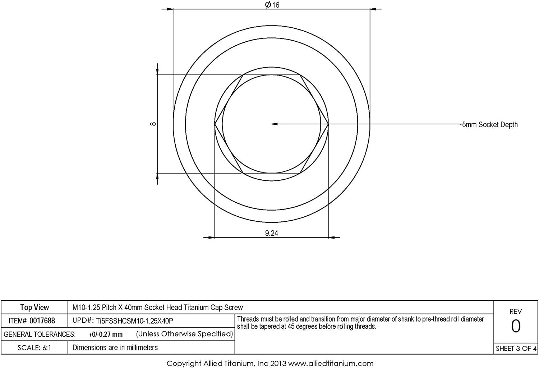 M10-1.25 Pitch X 40mm Metric Titanium Socket Head Cap Screw Allied Titanium 0017688, Ti-6Al-4V Pack of 3 Grade 5