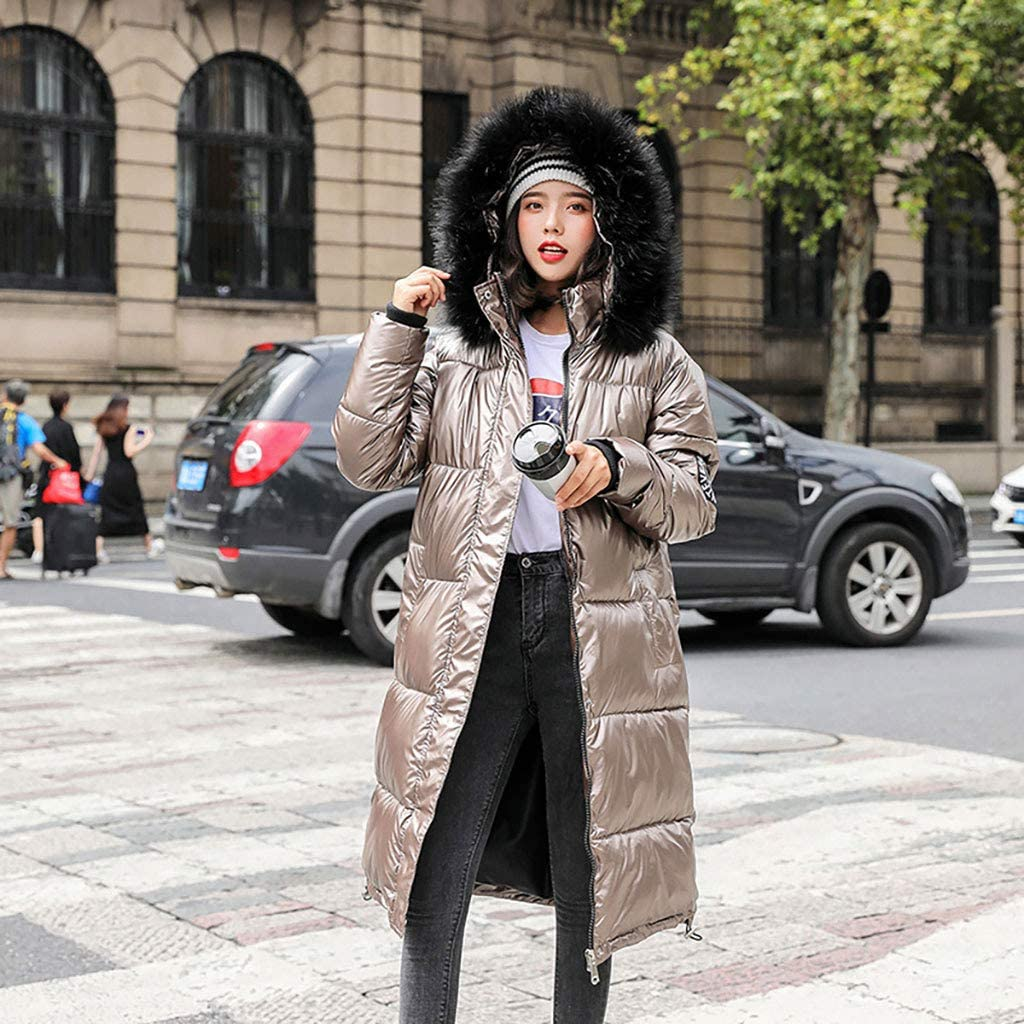 KEERADS Damen Winterjacke Lange Lang Parka mit Fellkapuze Daunenjacke Hechtmantel Pelzm/ütze Winddicht Warmer Mantel Outdoorjacke wasserdichte Jacke Steppmantel S-2XL