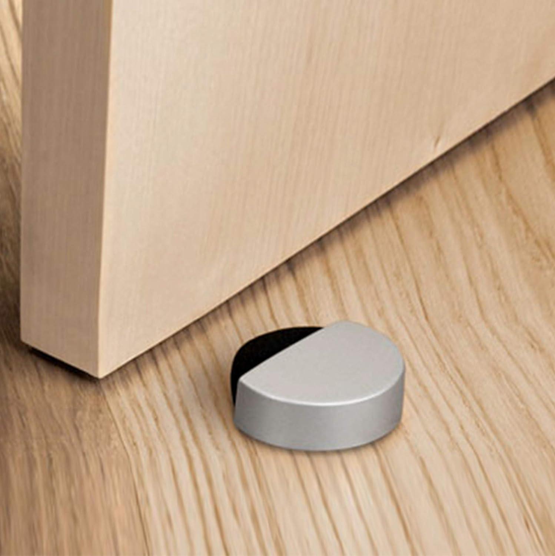 con tornillos y cinta adhesiva de doble cara 3M sin necesidad de taladrar adhesivo para piso Tope magn/ético para puerta de acero inoxidable con im/án para montaje en pared o suelo