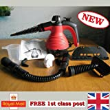 Electric Handheld Steam Cleaner Portable Hand Held Powerful Steamer Cleaning Set with accessories 48h courier MarkUK® (Red, steam cleaner)