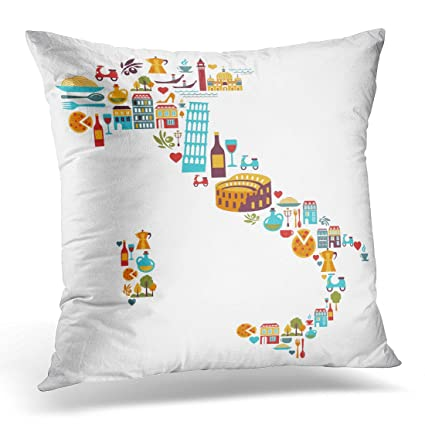 Amazon Sdamas Decorative Pillow Cover Travel Italy Map With Gorgeous Italian Decorative Pillows