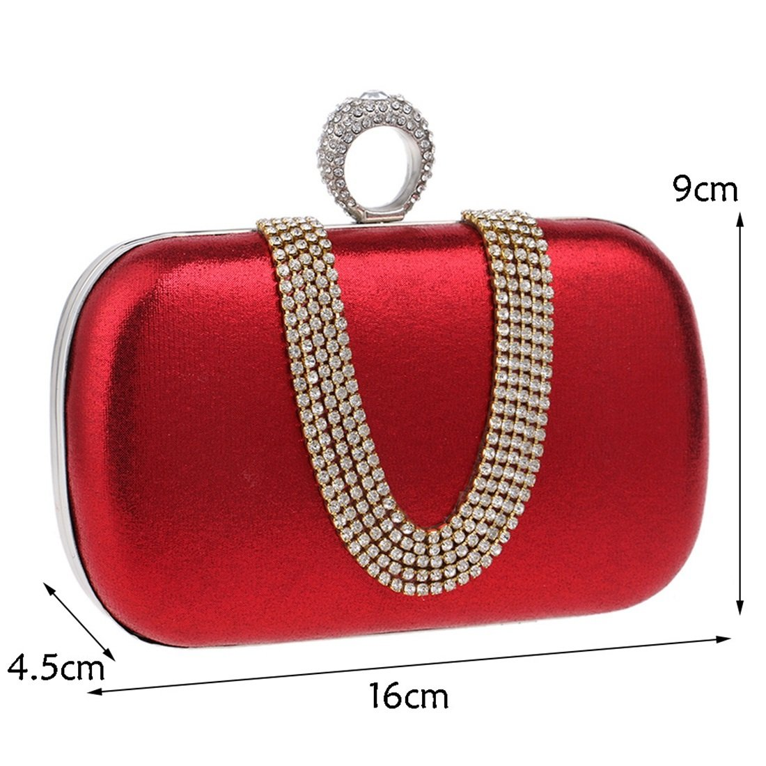 QARYYQ Diamond Evening Bag Exquisite U-Shaped Drill Hand Take Dinner Bag Fashion Banquet Lady Small Bag Evening Package Color : Red