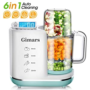 Gimars Upgrade 700W Auto Cleaning Fast Puree Steaming Baby Food Maker Processor, 6 in 1 Auto off Anti-dry Design Baby Food Cooker Blender Grinder Steamer with Touch Control for Infant Toddler, 10 Cup
