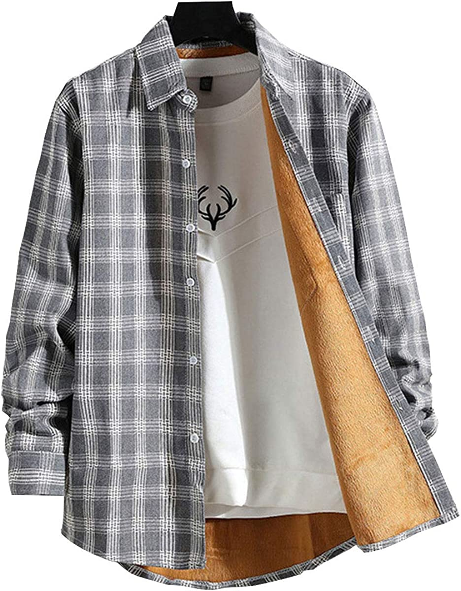 Astellarie Mens Casual Plaid Jacket Thicken Flannel Lined Lapel T-Shirt Long Sleeve Button Down