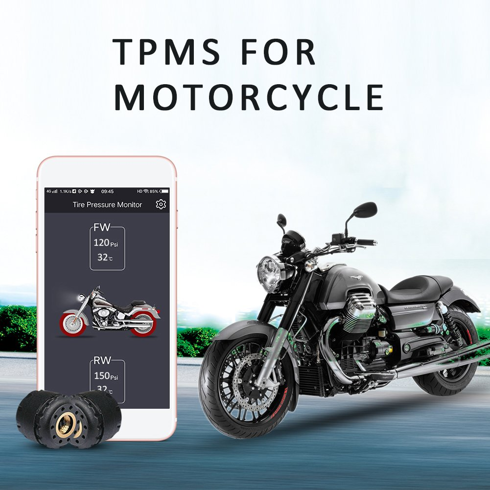 Motorcycle Bluetooth Tire Pressure Monitoring System TPMS Mobile Phone APP Detection External Sensor Bluetooth 4.0 TPMS with 2 Tire Sensors for Motorcycles blue--net
