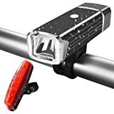 Bike Lights,EATPOW USB Rechargeable Bicycle Lights Set,4 Light Modes,Ultra Brightness and Waterproof LED Bicycle Front Flashlight and Rear Bike Light.