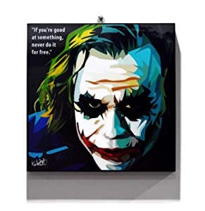 "Pop Art Movie Quotes [Joker - The Dark Knight] DC Villain Framed Acrylic Canvas Poster Prints Artwork Modern Wall Decor, 10""x10"""