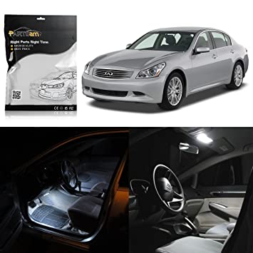 Partsam 7PCS White Interior LED Light Package Kit With Gift Tool For  Infiniti G35 Coupe 2003