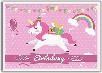 Kartenuniversum Einhorn 12er Set Unicorn Einladungskarten Kindergeburtstag  Einladung Girls Mädchen Kinder Rosa Geburtstag Lustig Witzig