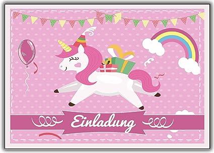 Kartenuniversum Einhorn 12er Set Unicorn Einladungskarten Kindergeburtstag Einladung Girls Mädchen Kinder Rosa Geburtstag Lustig Witzig Ausgefallen
