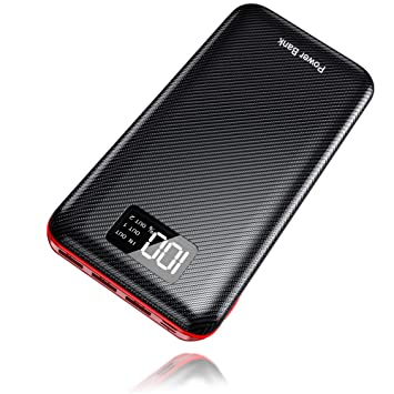 Power Bank 24000mAh Cargador Móvil Portátil Batería Externa con Entrada Doble y 3 Puertos de Salida USB & Pantalla Digital para Tablet, Android Phones ...