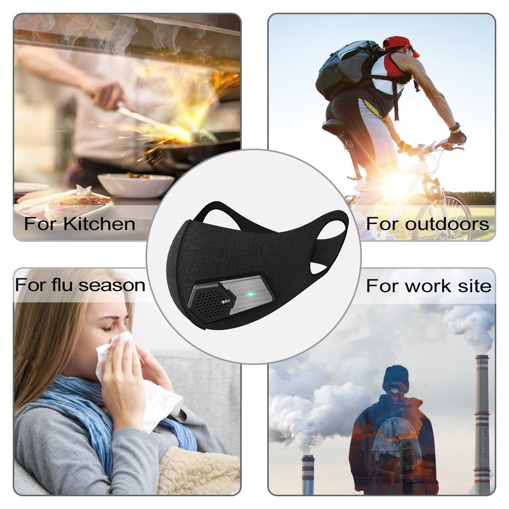 AntiPollution Mask N95 Fresh Air Supply Smart Electric Mask Air Purifying Mask For Exhaust Gas Pollen Allergy PM2.5 Running Cycling and Outdoor Activities Masks (Black Color) (Whole Set)