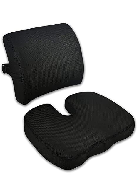 Memory Foam Seat Cushion and Lumbar Support Pillow for Office Chair, Car Seat, Lower Back, Tailbone Pain, Sciatica Relief with Mesh Removable Cover, ...