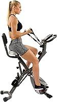 Bicicleta para Ejercicio Vertical Semi Reclinada Plegable c/ Seguimiento de Frecuencia Cardíaca, Bandas de Resistencia...